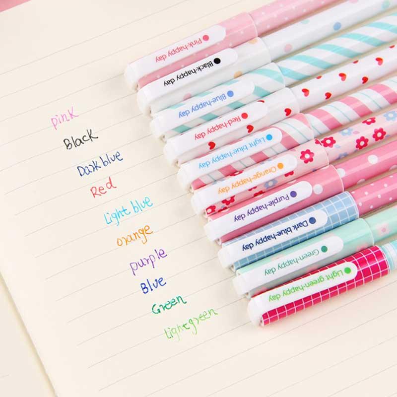 10 Pcs/Color Gel Pen Unicorn Flamingo Animal Starry Sky Flower Kawaii Pens Cute Korean Stationery Painting School Supplies