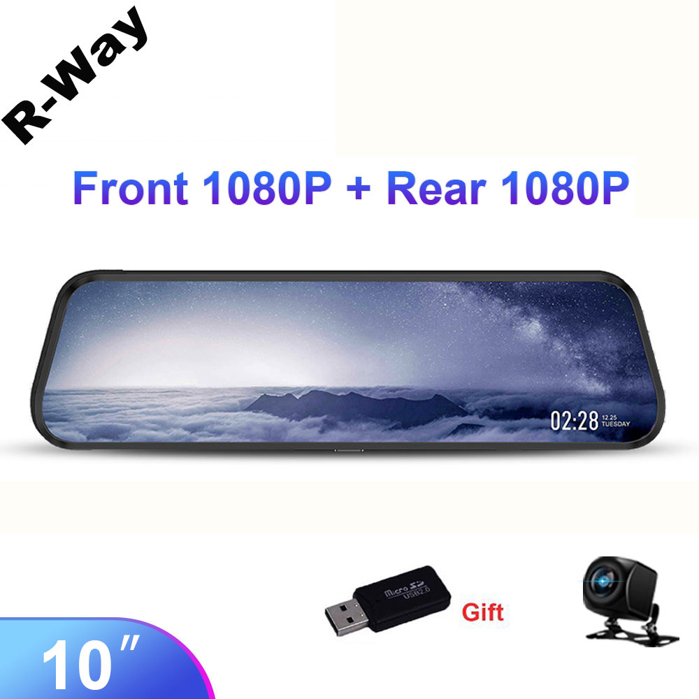 """R-Way 10"""" Dash Cam for Car, 2.5D IPS Mirror  Auto DVR Recorder with Rearview Camera, 1080P HD Video Rec Black Box 1"""