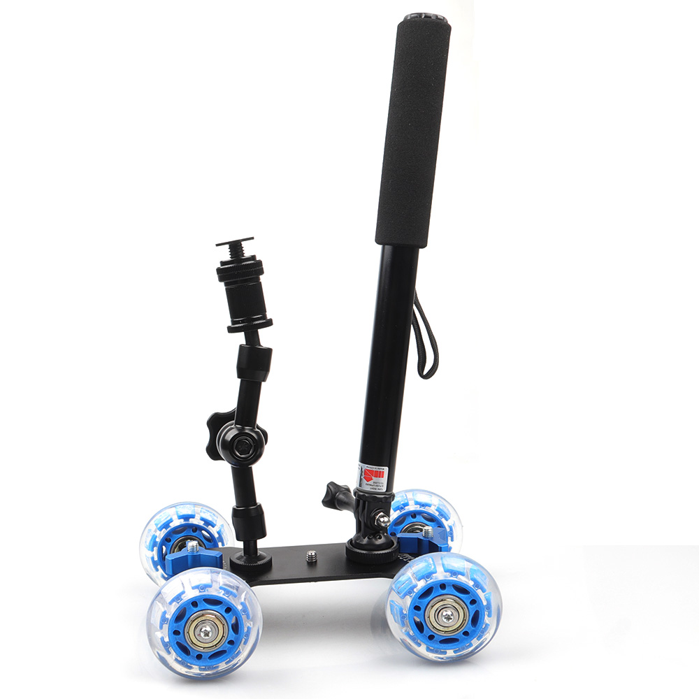 Black/Blue DSLR Truck Skater 4 Wheel Table Dolly Slider Kit +Magic Arm +Monopod For Video Camera DSLR Accessories