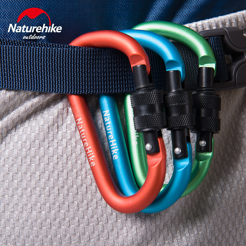 Naturehike 1pcs 6cm Outdoor Multifunctional Carabiner  Type With Lock Aluminum Alloy Key Backpack Hang Buckle Not Exceeding 40KG