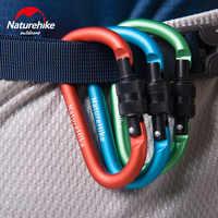 Naturehike 1pcs 6cm Outdoor Multifunctional Carabiner Type With Lock Aluminum Alloy Key Backpack Hang Buckle Not Exceeding 40KG