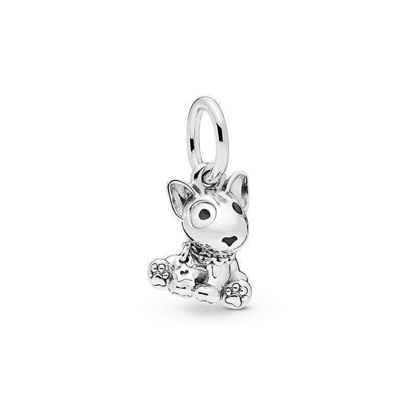 Novo bonito adorável cão gatos pingente de prata cor diy charme contas se encaixa pandora feminino pulseira colar jóias diy para presentes