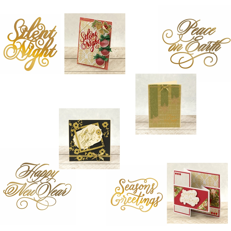 Hot Foil Plate Festival Greetings gilded Phrases for DIY Scrapbooking  New 2019 Embossing Paper Cards Crafts