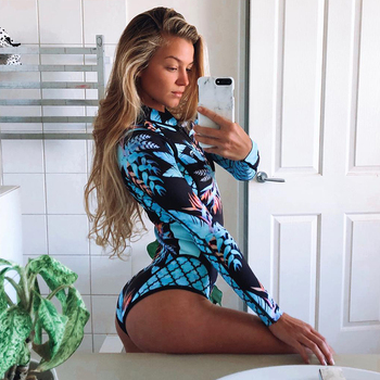 Print Floral One Piece Swimsuit Women Swimwear Monokini Long Sleeve Printed Female Bathing Suit Surfing Bodysuit Swim Wear Beach 2