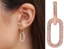 925 silver rock rhinestone chain hoop earrings for women locker earring fashion autumn jewlery 2019