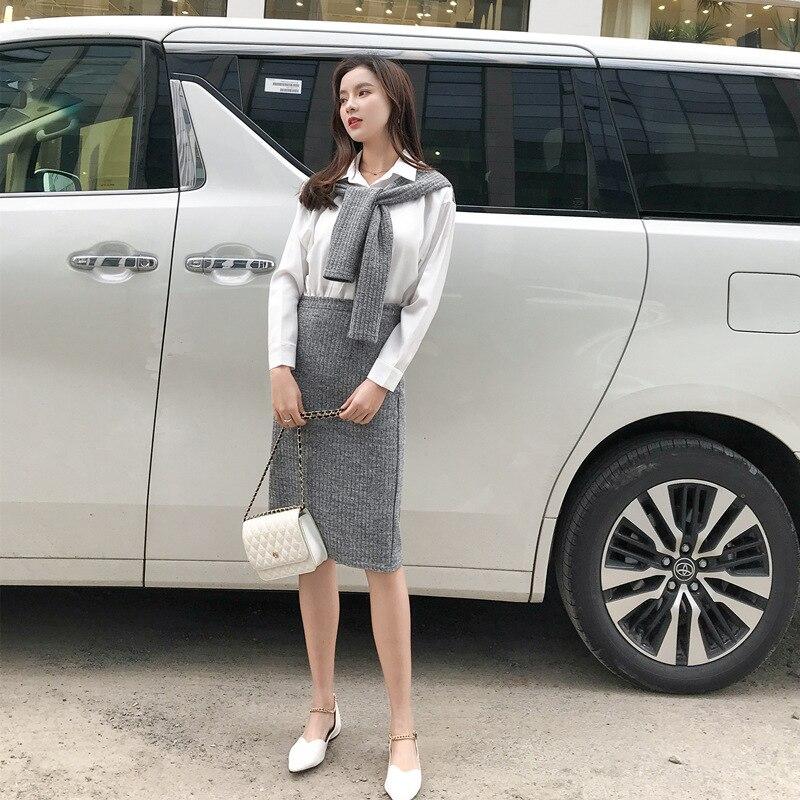 2019 Spring New Style Korean-style Debutante Mock Two-Piece Shawl White Shirt Skirt Set