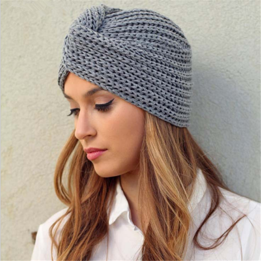 Women's Knitted Turban Hats Bohemia Turban Cashmere Cross Wrap Head Indian Hat Wool Knitting  Bonnet Turbante Cap Ready To