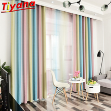 Multicolor Striped Stitching Window Screens for Living Room Colorful SemiBlackout Curtain Cloth for Bedroom Balcony WH118#30