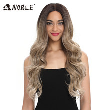 Noble Hair Lace Front ombre blonde Wig 30 Inch Lace Long wavy 360 Wig red african american Synthetic Wigs For Black Women(China)
