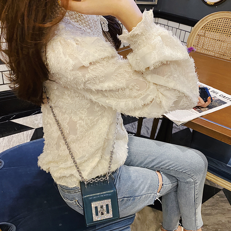 MISHOW 2020 Spring Chiffon Blouses Women Solid Embroidery Puff Sleeve Fashion Elegant Shirts Female Tops MX20A4115
