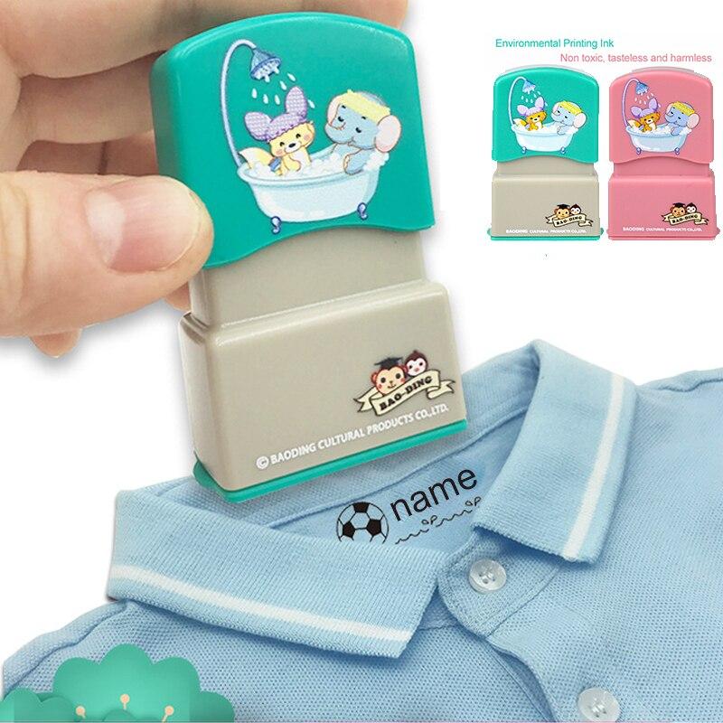 Bébé personnalisé nom timbre enfants enseignant dessin animé maternelle toutes les langues nom étudiant vêtements non-décoloration petit animal encreur