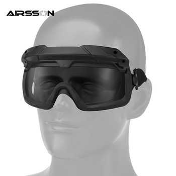 Wojskowe okulary przeciwmgielne okulary ochronne okulary ochronne do kasku Airsoft Paintball CS Wargame mężczyźni okulary taktyczne okulary tanie i dobre opinie Tactical Airsoft Goggles 8 5cm Outdoor Cycling Eyewear Black 18 5*8 5cm Z tworzywa sztucznego Unisex Poliwęglan Jazda na rowerze