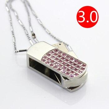 Hot Selling Diamond Jewelry Fashion Gift Pink USB Flash Drive 3.0 64GB 128GB Pendrives 1TB 2TB Pen Drive 32GB 16GB 8GB USB Stick