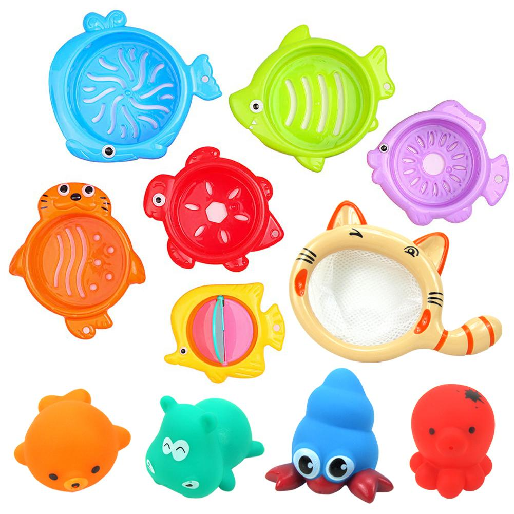 11Pcs Kids Baby Bath Shower Floating Squeeze Sound Toys Cute Candy Color Animal Fishing Toy Set
