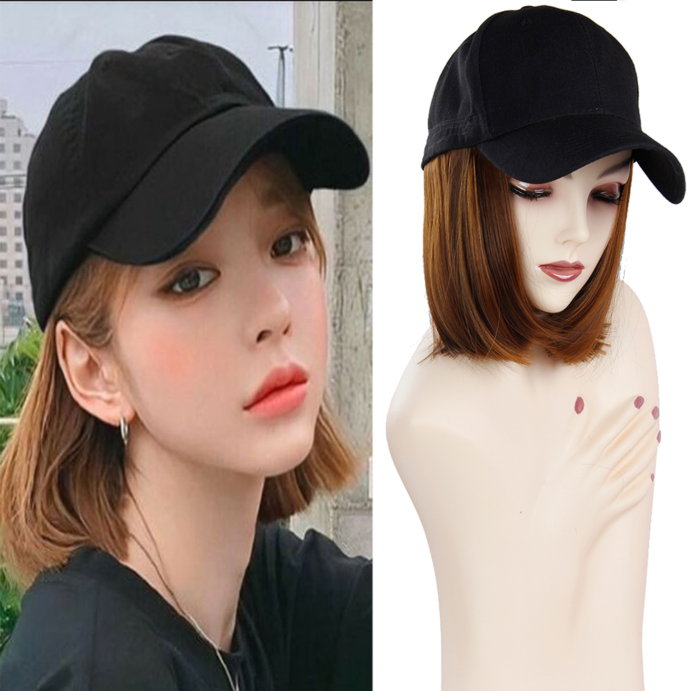 Baseball Cap Short Wigs For Women Heat Resistant Fiber Black Hair Wig With Hat Peruca Synthetic Bob Curl Wigs