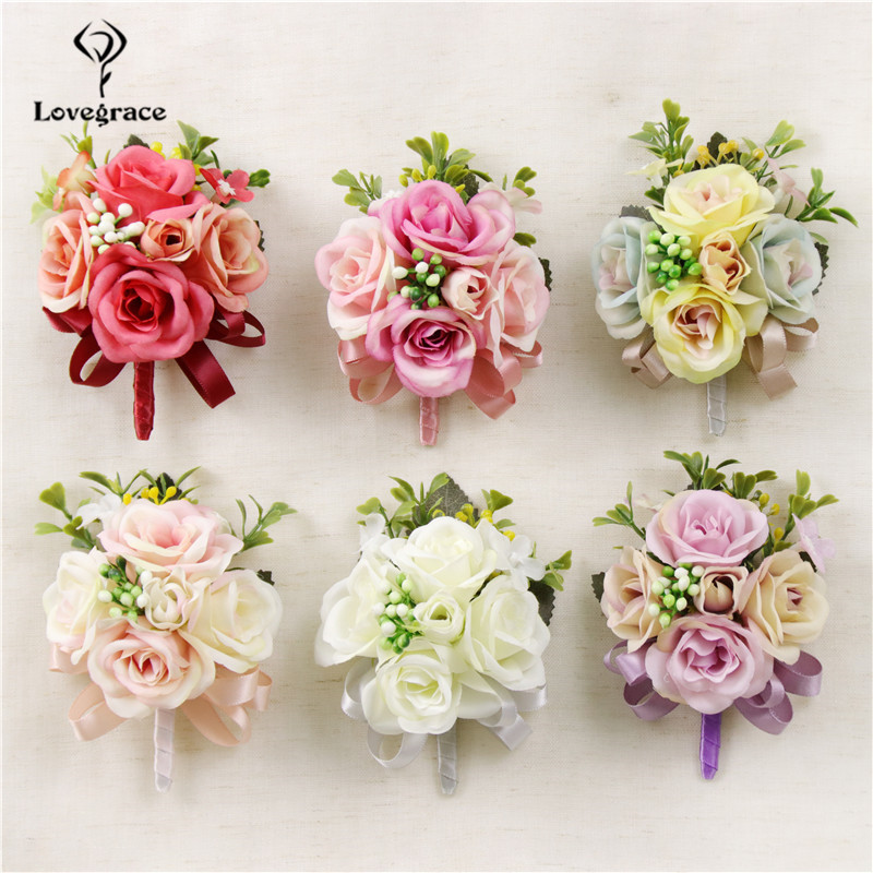 Lovegrace Boutonniere Flower Bride Wedding Wrist Corsages Silk Rose Fake Berries Groom Boutonniere Wedding Planner Brooch Pins
