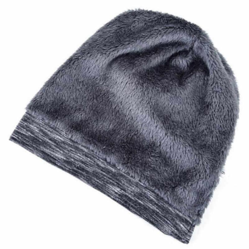 Plus aksamitna ciepła zima turban dla mężczyzn szyte zagęścić Hip Hop Stocking kapelusz polar Linner Skullies Beanie czapka damska Bonnet