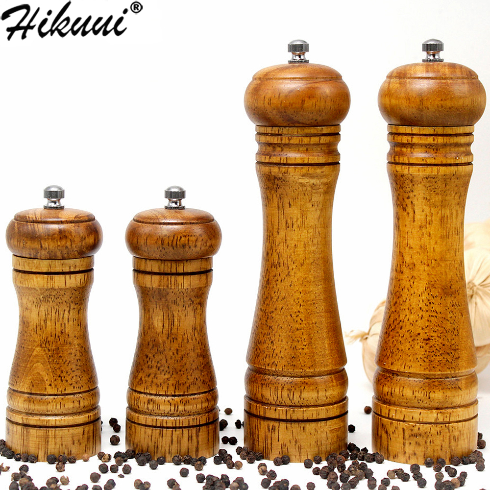 HIKUUI Mill-Grinder-Set Pepper Seasoning-Mills Grinding-Core Spice Oak-Wood Handheld