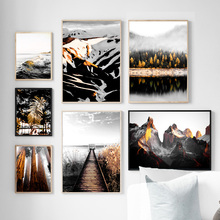 цена Bridge Forest Snow Mountain River Lake Wall Art Print Canvas Painting Nordic Posters And Prints Wall Pictures For Living Room