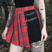 Fitshinling Goth Dark Patchwork Women Skirts Fashion 2019 Belt Plaid Harajuku High Waist Skirt Checker Slim Autumn Punk Saias