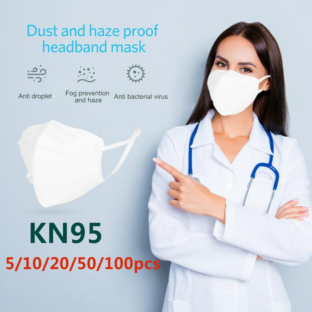 5/10/20/50/100pcs KN95 Masks Non-woven Anti-dust Anti Influenza Safety Protective Mouth Face Cover Respirator US Dropshipping