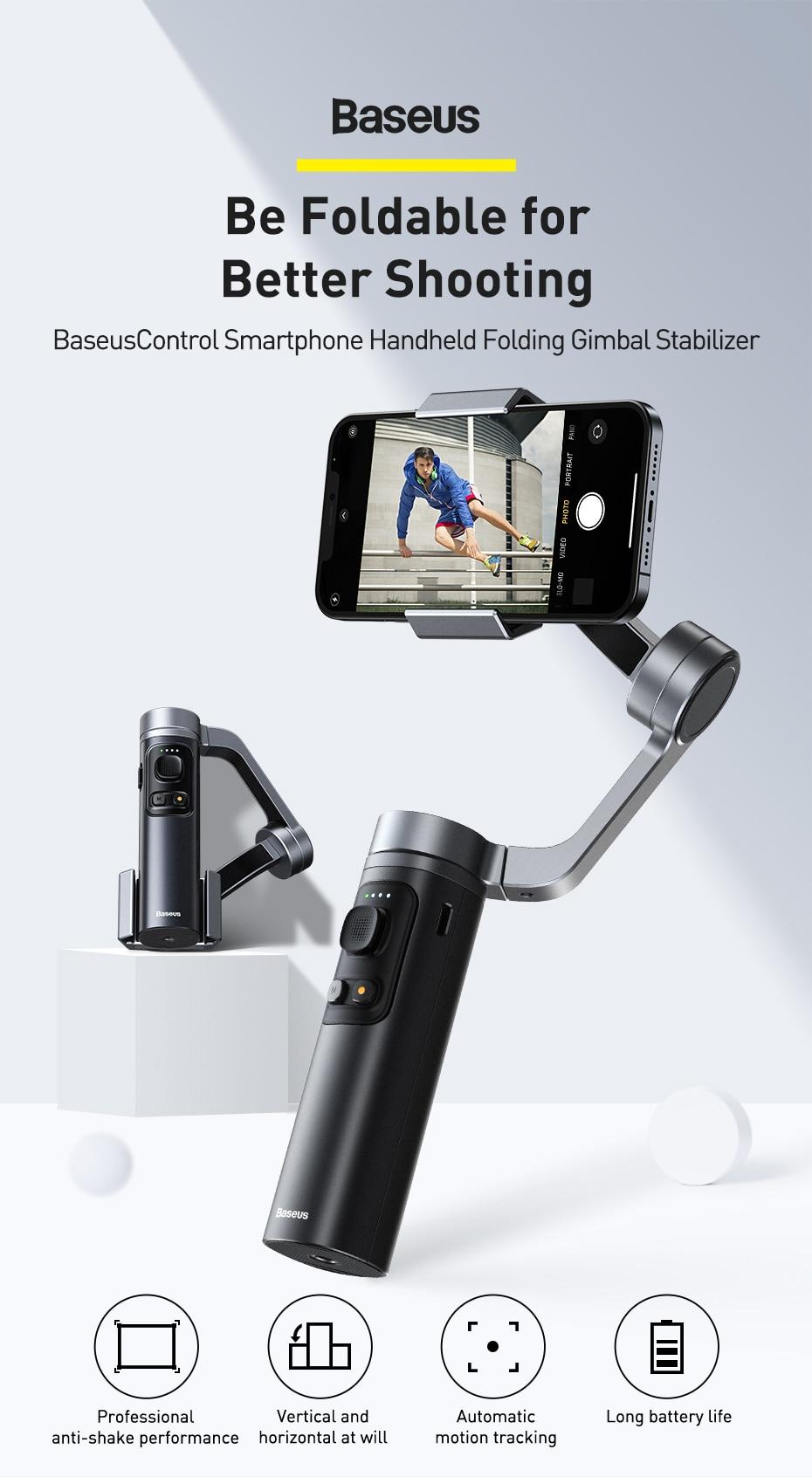 Baseus Control Smartphone Handheld Folding Gimbal Stabilizer 5