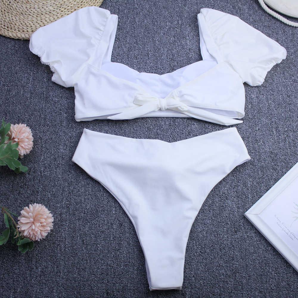 Solidny biały czarny strój kąpielowy kobiet Bandeau bikini 2020 strój kąpielowy z krótkim rękawem kobiety Sport strona krawatowa strój kąpielowy bikini wysokie w talii