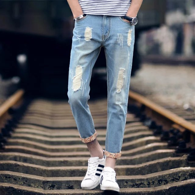 2018 Hot Selling Men Capri Jeans Men's Teenager With Holes Pants Lace Pants Men's