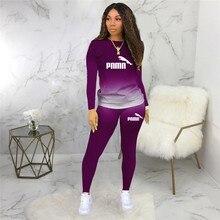 Conjunto de dos piezas para mujer, chándal deportivo informal con gradiente de impresión, Top estampado de manga larga, traje deportivo de talla grande 5XL, otoño 2020