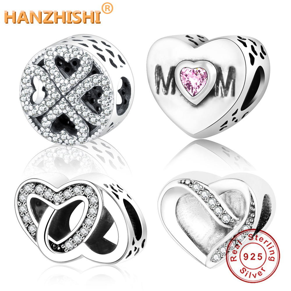 Classic Beads Love/Heart Charm Fit Original Pandora Charms Bracelet Necklace 925 Sterling Silver Bead Women DIY berloque Jewelry(China)