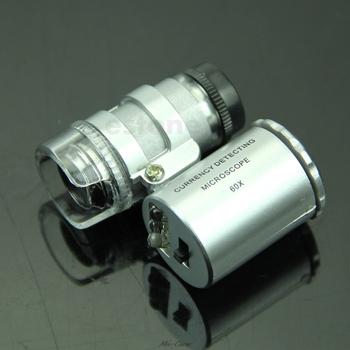 Mini 60X lupa mikroskop UV jubiler lupa detektor walut ze światłem LED tanie i dobre opinie OOTDTY NONE CN (pochodzenie) 500X i Pod 37626 Other PORTABLE Mikroskop Elektronowy transmisji