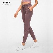 Sirena Curva Accogliente freddo Jogger Pantaloni Ranning Pantaloni Con Cordino In La Cintura di Yoga Pantaloni A Vita Alta allentati Pantaloni di Forma Fisica Delle Donne