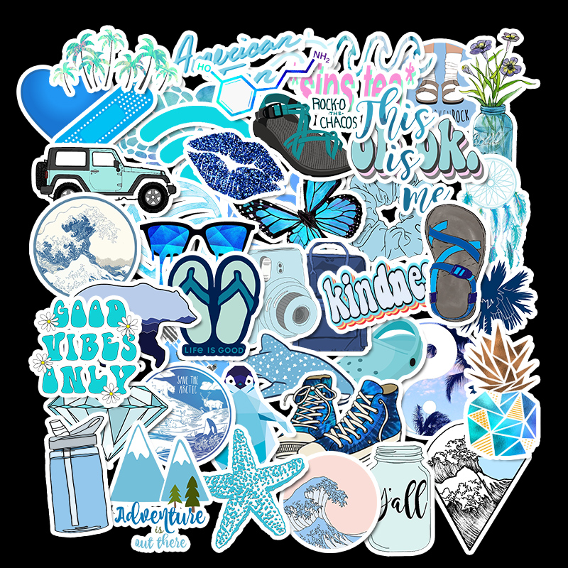 50 PCS Ins Style Blue Graffiti Stickers For Chidren Toy Waterproof Sticker to DIY Suitcase Laptop Bicycle Helmet Car Decals