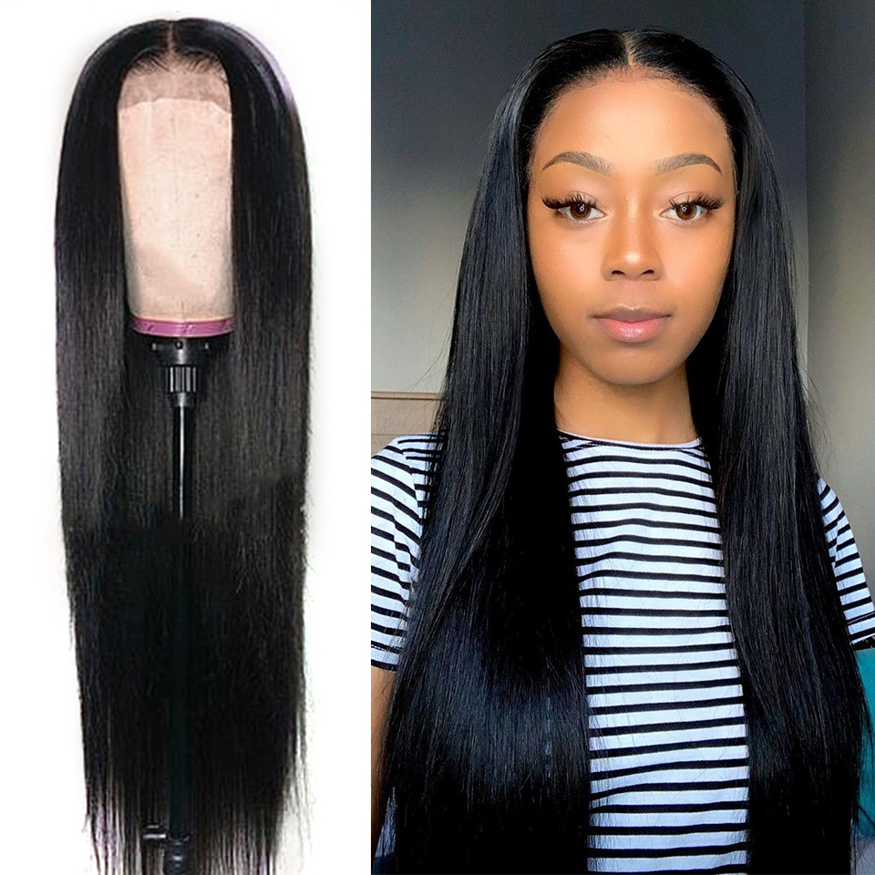 [djs] 13*6 Lace Front Human Hair Wig 8-28 Inch Straight Human Hair Wigs Remy 360 lace frontal wig For Black Women image