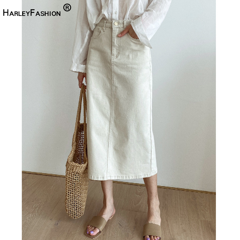 HarleyFashion Asian Style Women Casual Brief Denim Skirt All-match Design Factory Price Quality Slim Straight Saia Skirts
