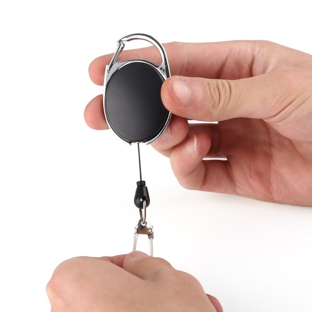 Mini Multifunctional Retractable Keychain Black Anti-Lost Keychain Buckle Recoil Ring Pull Clip Keyring Outdoor