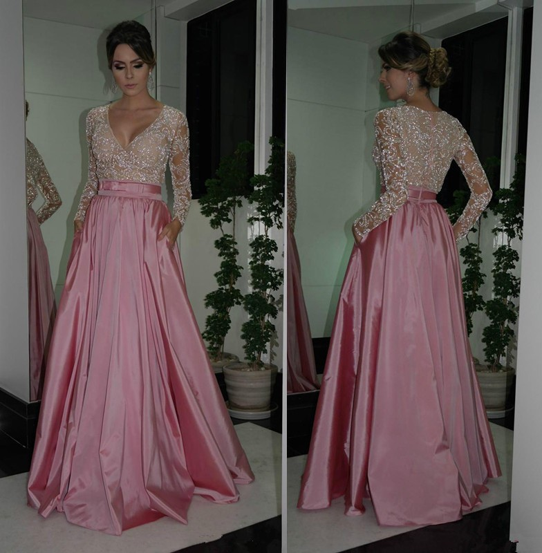 2018 deep V neck Illusion Long Sleeves Beaded Custom Elegant Evening formal dress prom gown Floor Length Mother Bride Dresses