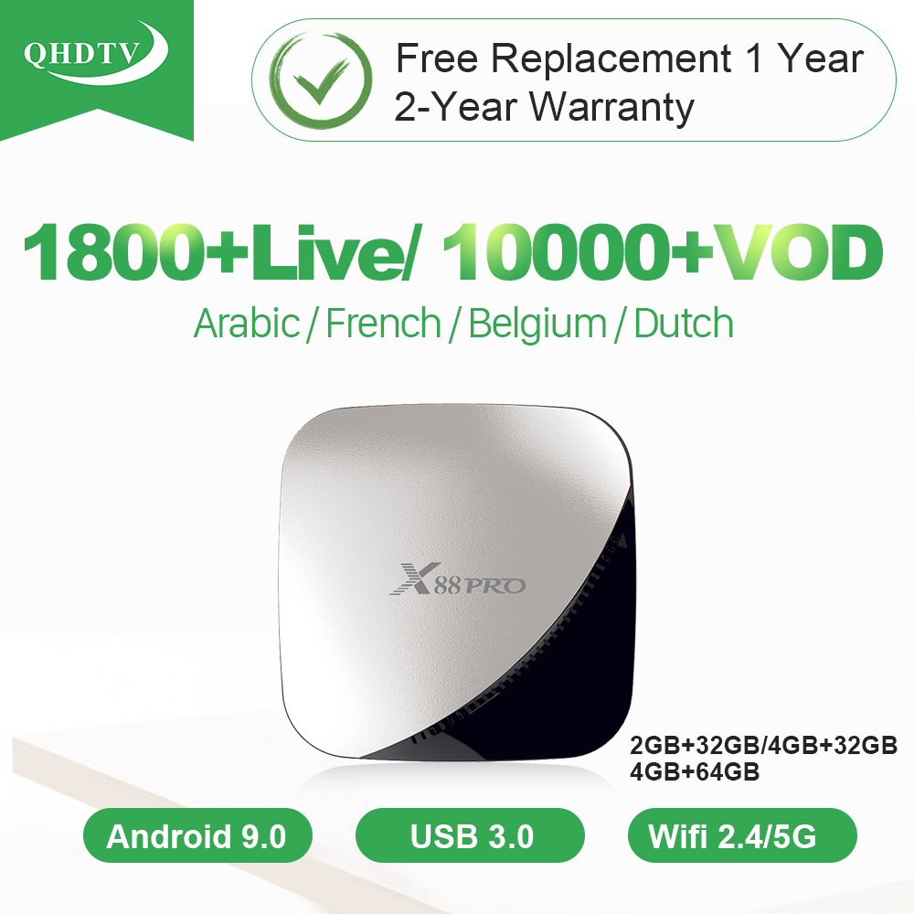 IPTV France arabe belgique IP TV QHDTV IPTV abonnement 1 an X88 Pro Android Tv Box IPTV français belgique italie UK pays-bas