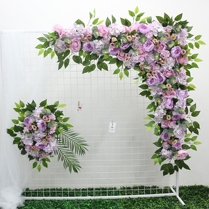 Image 3 - 1 סט 120cm 3D אירופאי סגנון DIY חתונה שלב דקור מלאכותי פרח קיר קשת משי עלה אדמונית צמחים עיצוב תפאורה פרח קיר