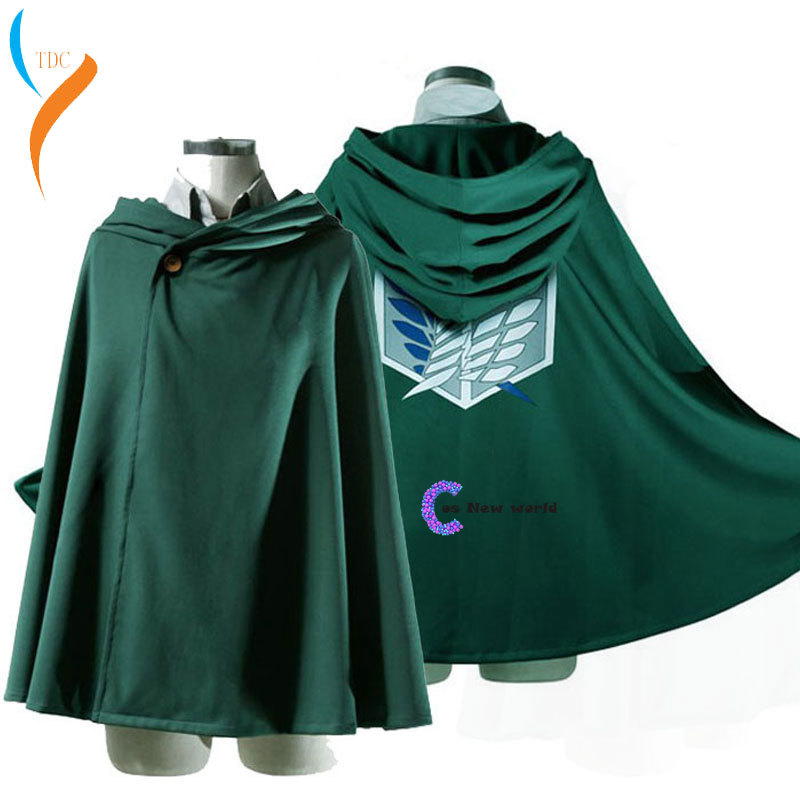 2019 Hoodie Attack on Titan Cloak Shingeki no Kyojin Scouting Legion Cosplay Costume anime cosplay green Cape Women mens clothes