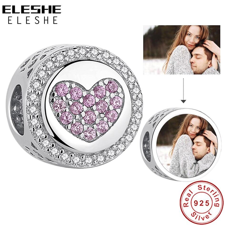 ELESHE spersonalizowane niestandardowe zdjęcie urok 925 srebro kryształowe serce w okrągłe koraliki Fit oryginalny Charm bransoletka DIY biżuteria