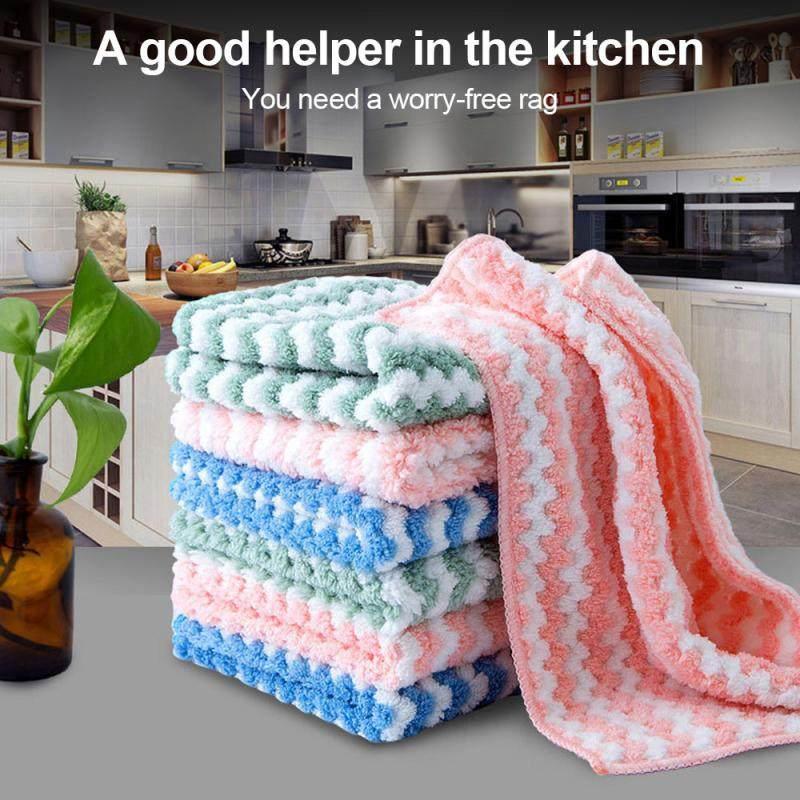 10Pcs Coral Dishwashing Rag Double-Sided Rag Kitchen Lazy Cleaning Dish Towel