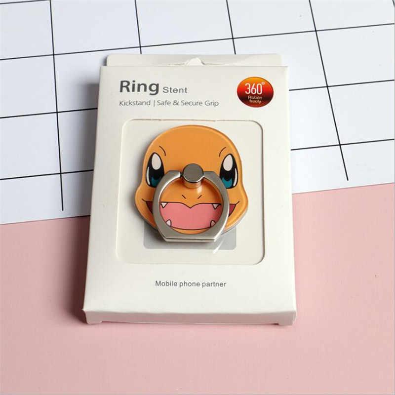 만화 애니메이션 포켓몬 주변 전화 홀더 키 체인 아크릴 링 피카추 Bulbasaur 360 Degree 회전 전화 홀더 선물
