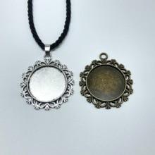 2pcs Tibetan silver disc  Cameo Cabochon Base Setting pendant necklace black handmade rope chain  Jewelry цена и фото