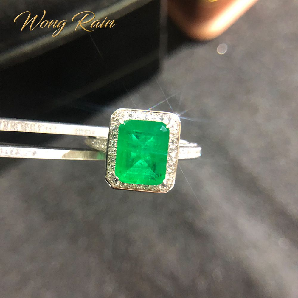 Wong Rain Vintage 925 Sterling Silver Emerald Diamonds Gemstone Wedding Engagement Ring Fine Jewelry Wholesale Drop Shipping