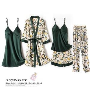 Image 2 - Print Flower Wedding Robe Set Women Sexy 5pcs Nightwear Nightgown Loose Kimono Bath Gown Silky Soft Satin Home Clothes Lingerie