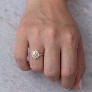 14K Gold FL 2 Carats Diamond Ring for Women Fine Anillos De Bizuteria Gemstone 14K Gold Diamond Dainty Cirle Jewelry Ring Box