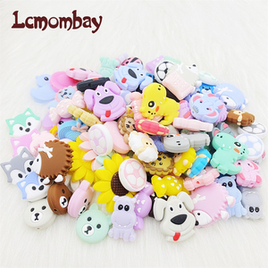 10PCS Teether Silicone Beads Animal Shape For Pacifier Clips DIY Cute Teething Toys Silicone Baby Teether