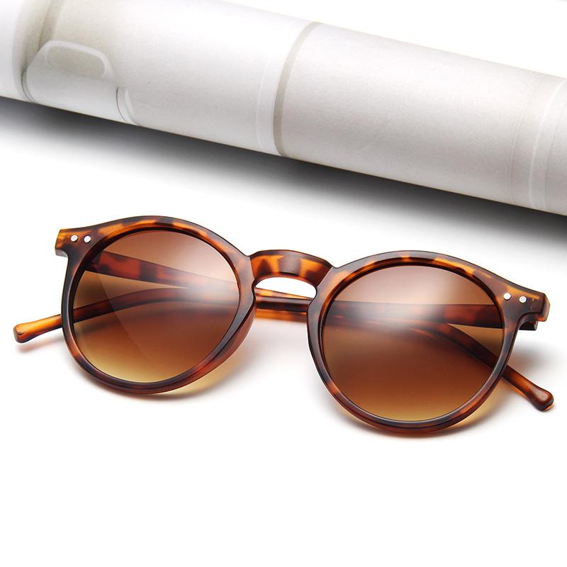 Vintage Leopard Round Sunglasses Women Fashion Cat Eye Mirror Sun Glasses Female Brand Designer Classic Gradient Oculos De Sol