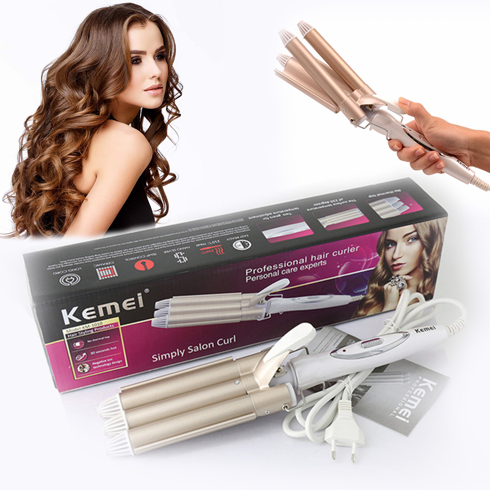 Kemei Curling Irons Hair-Styler Styling-Tools Wave Professional Krultang Crimper